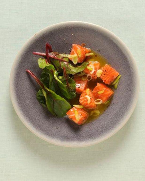 saumon mariné, vinaigrette Passion