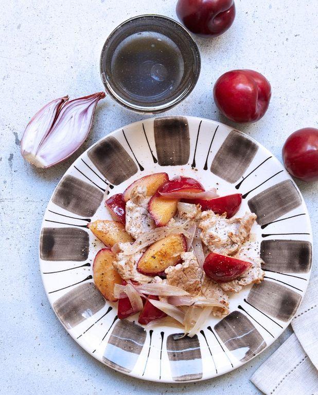 Sauté de porc prunes-échalotes