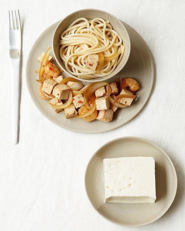 Sauté de tofu aux crevettes