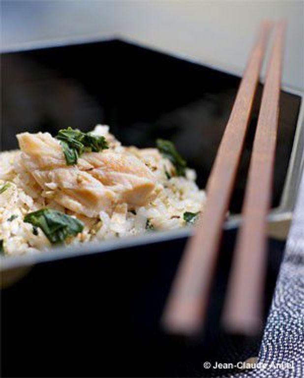 Shaké-gohan, riz au saumon et aux feuilles de thé gyokuro