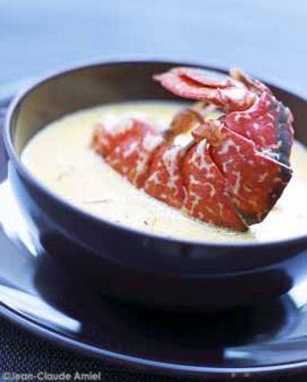 Soupe chaude de homard breton aux pistils de safran