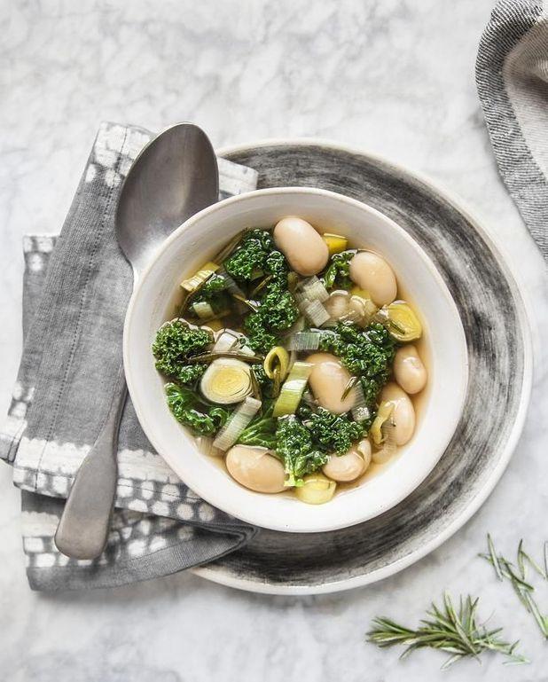 Soupe chou kale et haricots tarbais