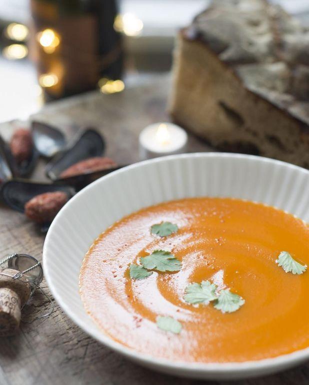 Soupe de carottes et moules tandoori