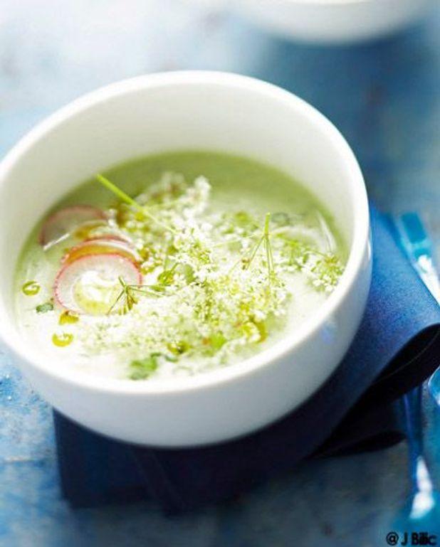Soupe froide concombre et radis