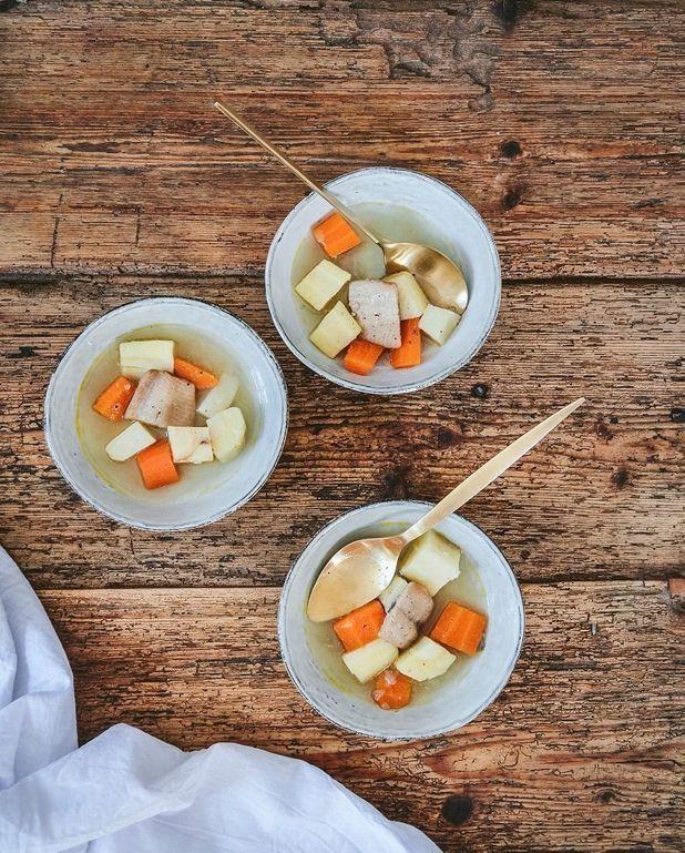 Soupe de légumes racines et hareng fumé