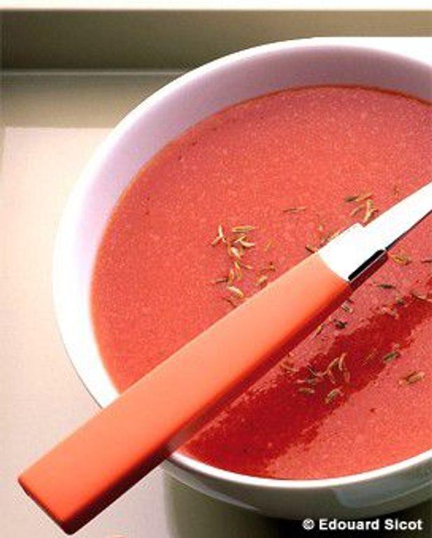 Soupe de tomates au cumin et au curcuma