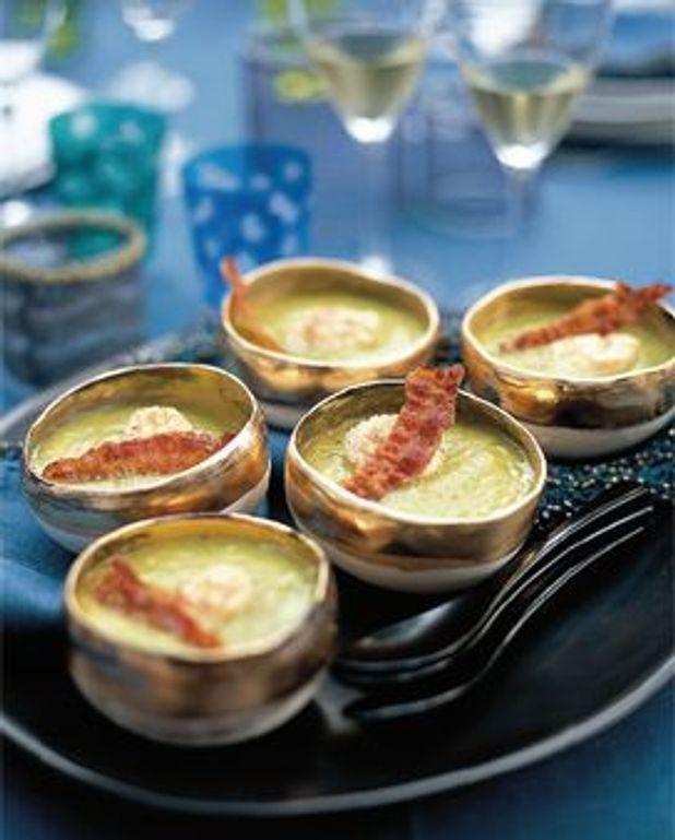 Soupe fine de légumes au lard et aux coquilles St Jacques