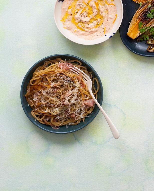 Spaghetti aux endives sautées