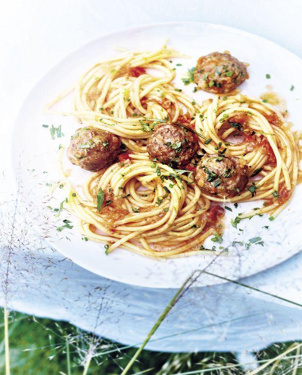 Spaghettis à la tomate et boulettes d'agneau