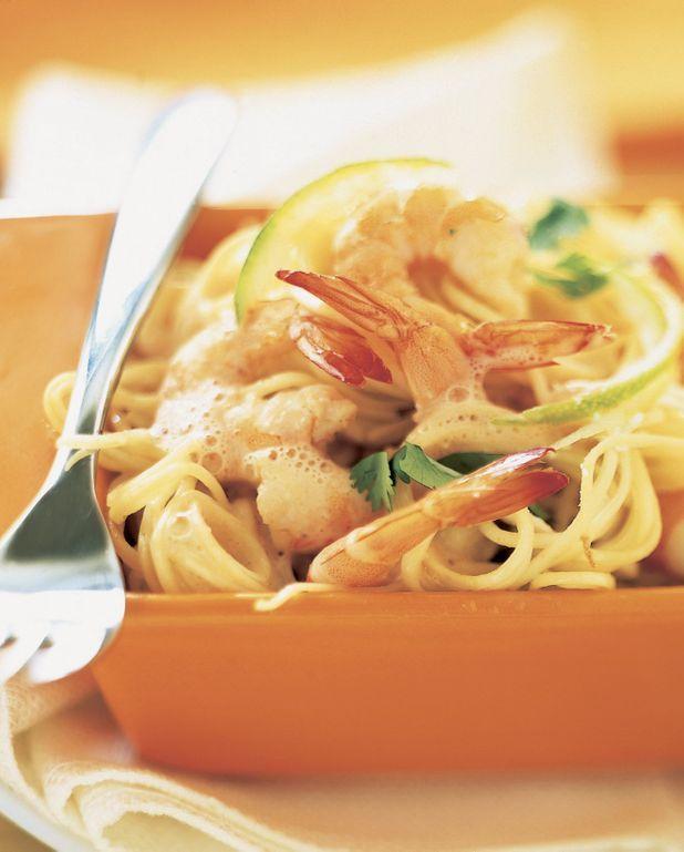Spaghettis crevettes-coco-chèvre