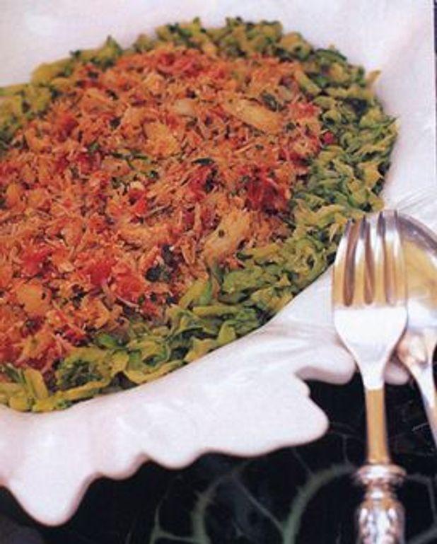 Spaghettis de courgettes au crabe