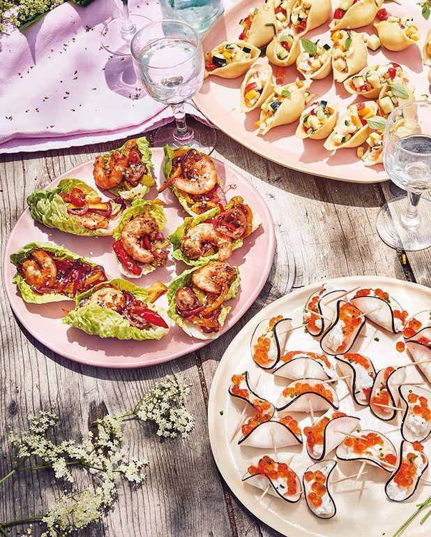 Sucrines aux crevettes et légumes grillés marinés