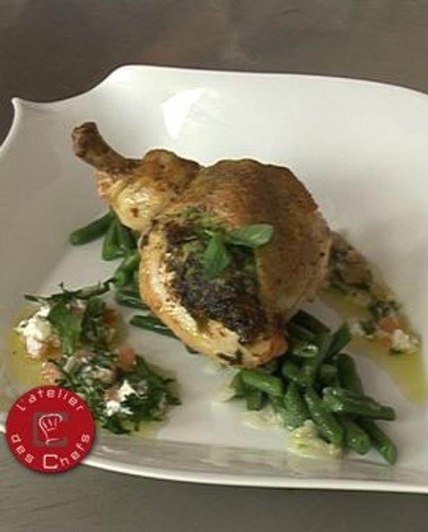 Suprême de poulet contisé au pistou et à la sauce vierge