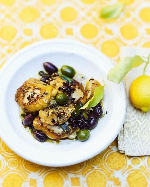 Tajine de poulet aux olives et citrons confits