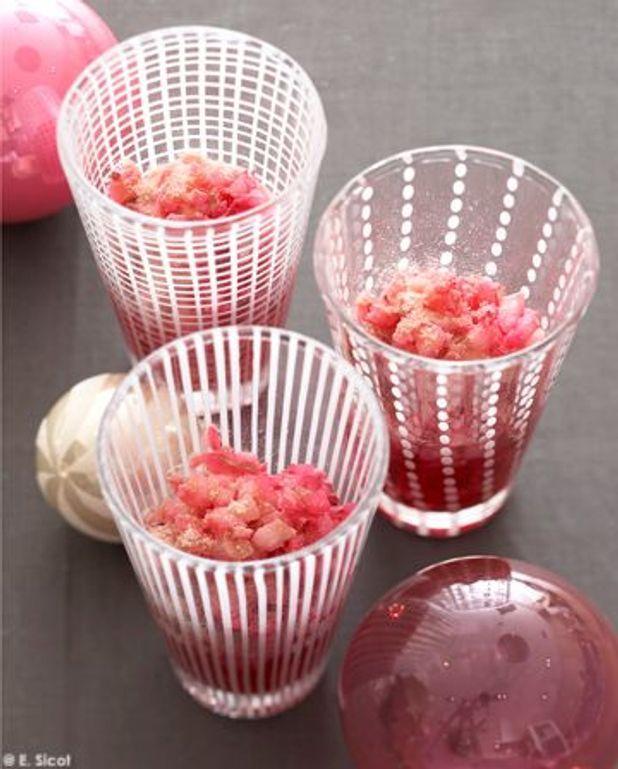 Tartare de litchis aux biscuits roses de Reims