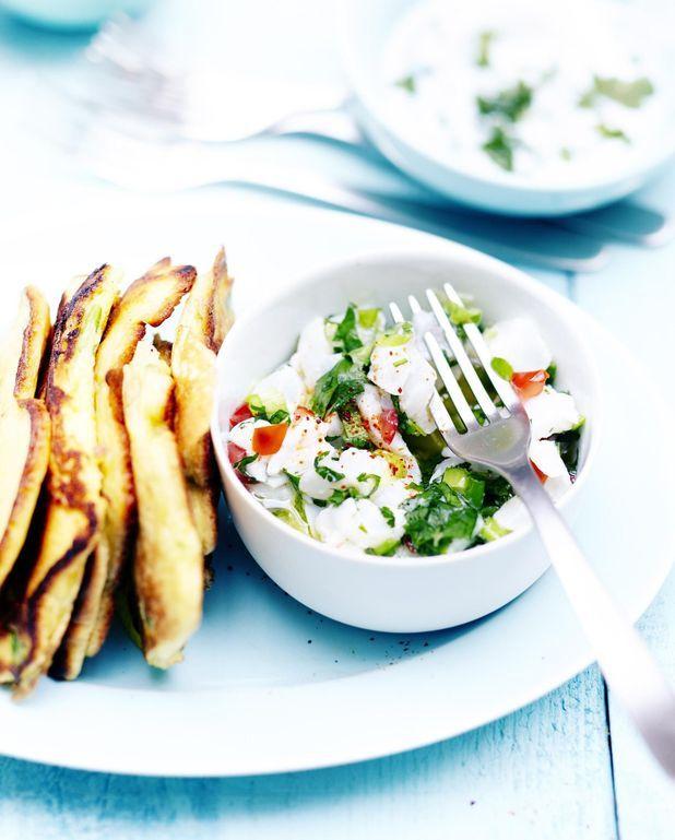 Tartare de poisson et pancakes aux légumes