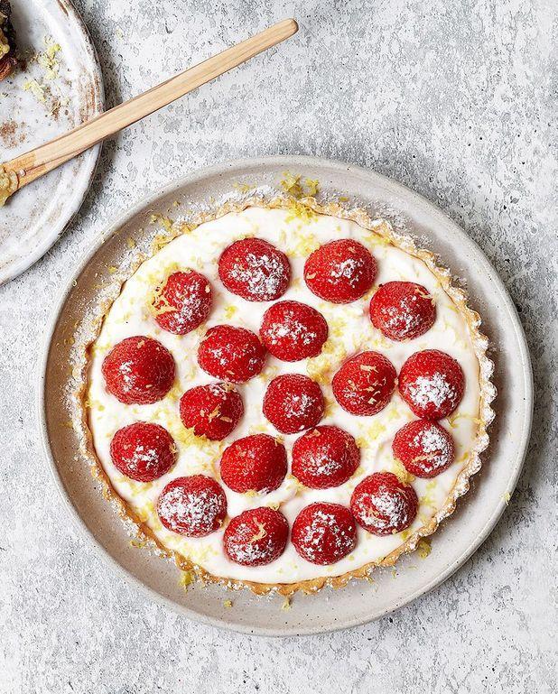Tarte aux fraises et zeste de citron râpé