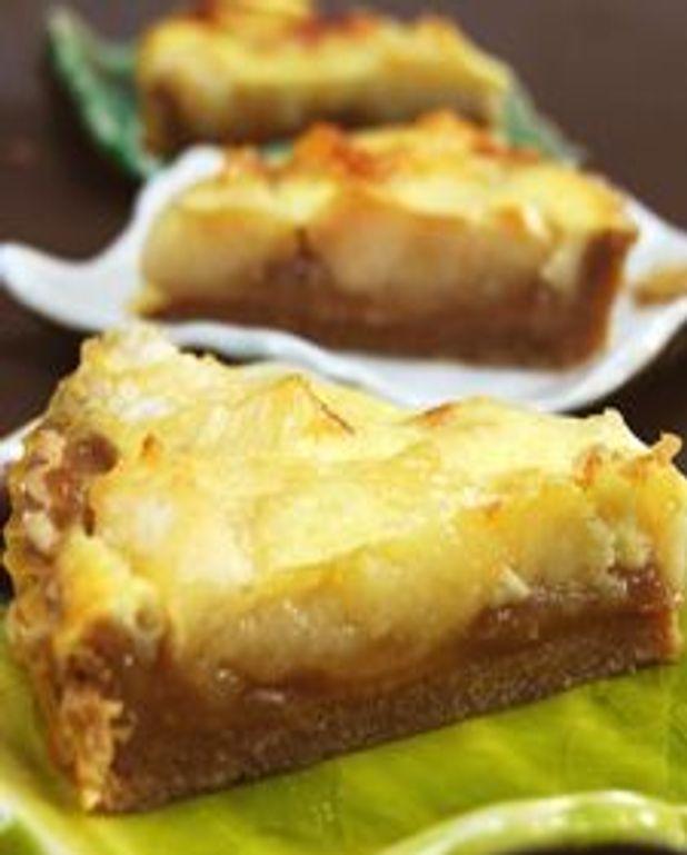 Tarte aux pommes caramélisées citronnées et crème de marrons