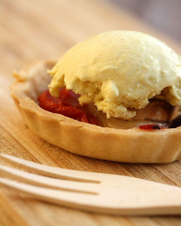 Tartelette tomate/chèvre et sa glace à la moutarde