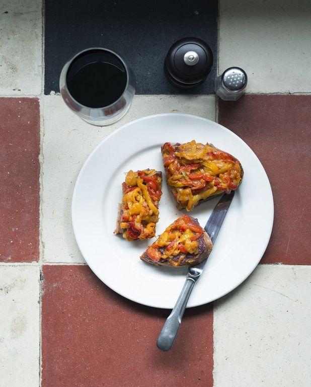 Tartine oignons-poivrons