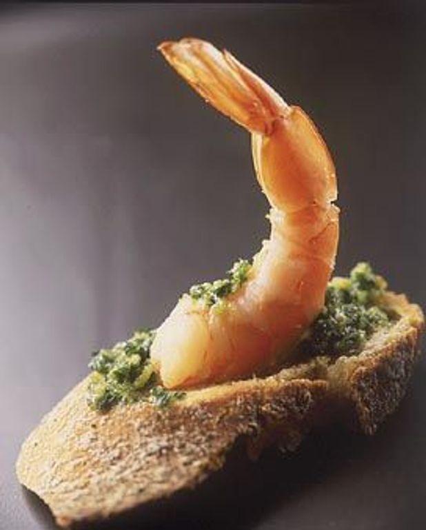 Tartines aux crevettes, beurre d'escargot