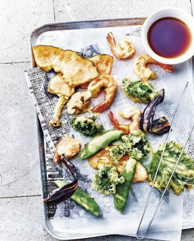Tempura crevettes et légumes