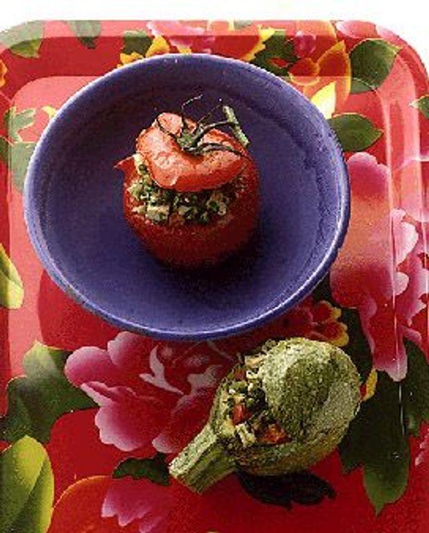 Tomates et courgettes farcies au tofu