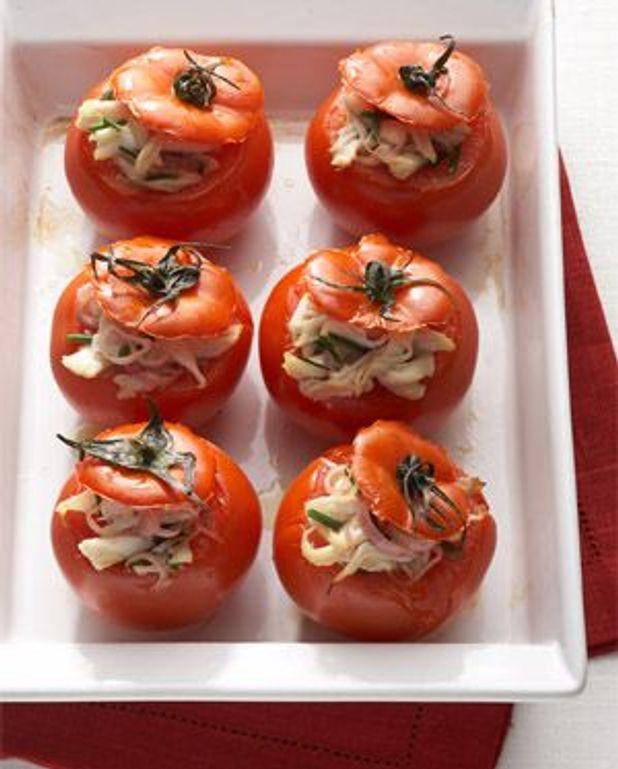 Tomates farcies d'effiloché de raie