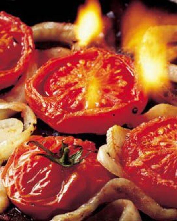 Tomates flambées
