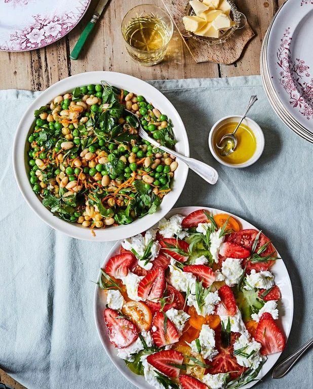 Tomates, fraises, mozzarella, estragon
