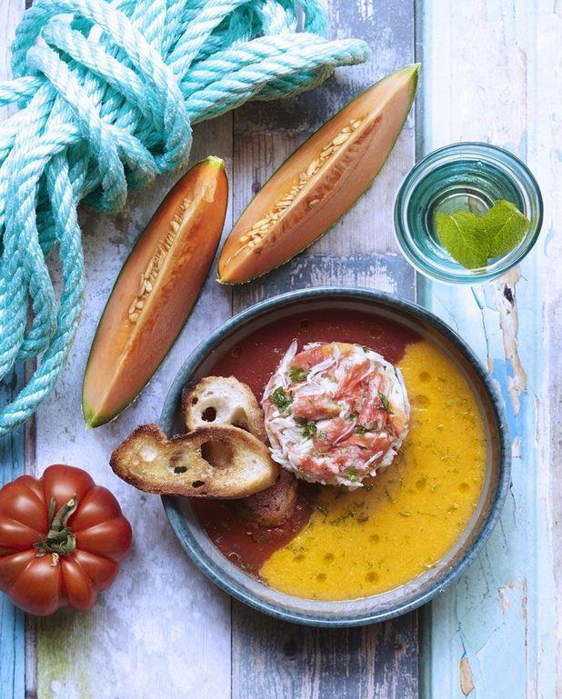 Tourteau, tomate et melon