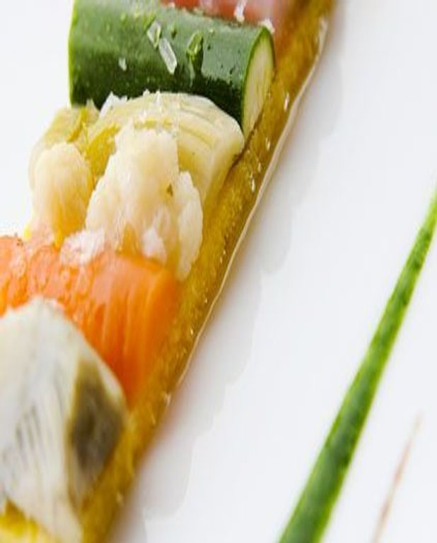 Variation de légumes, moelleux a la polenta