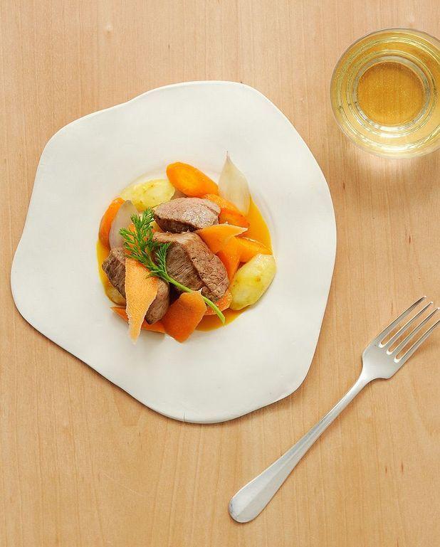 Veau, carottes rôties, jus aux épices