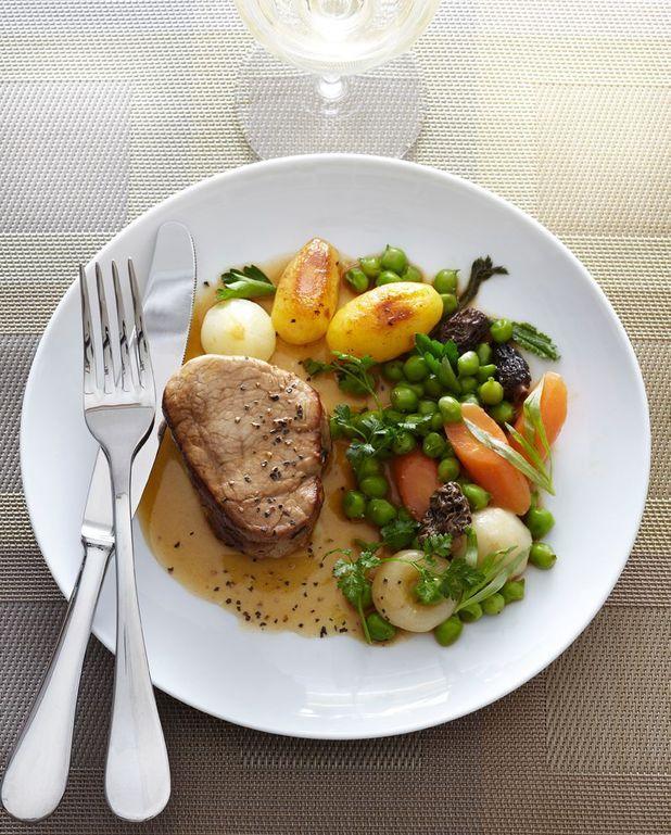 Veau, légumes et morilles