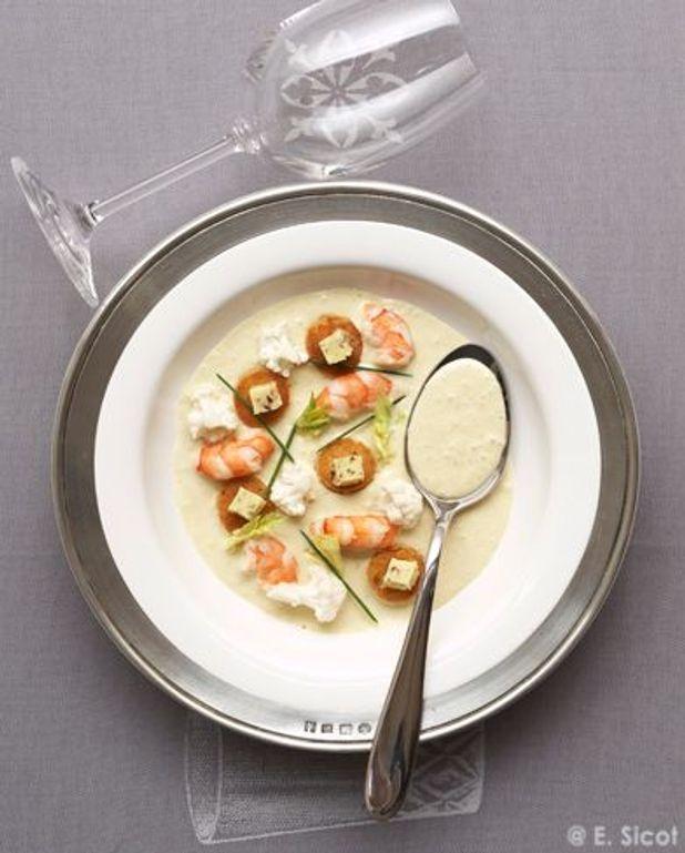 Velouté de chou-fleur aux crevettes