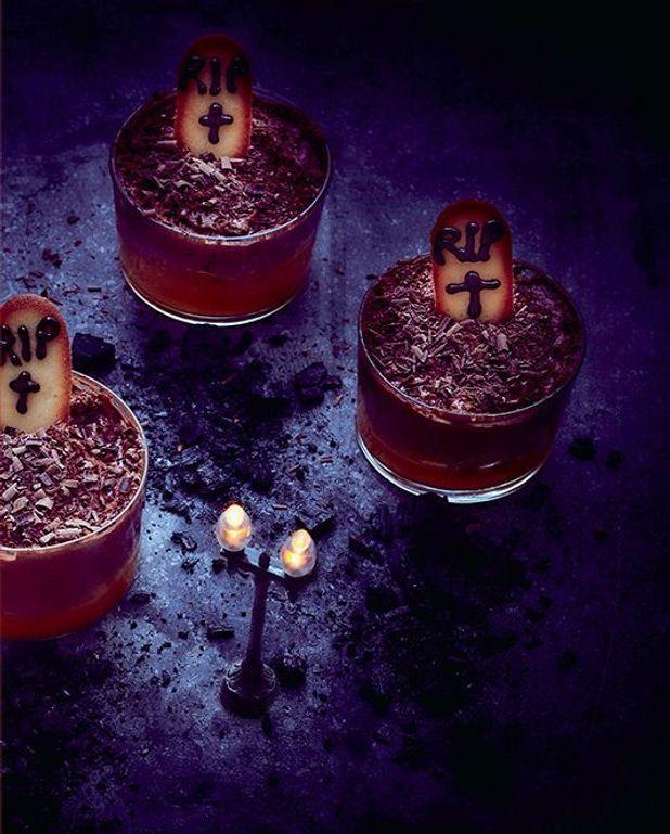 Verrines au chocolat façon pierre tombale