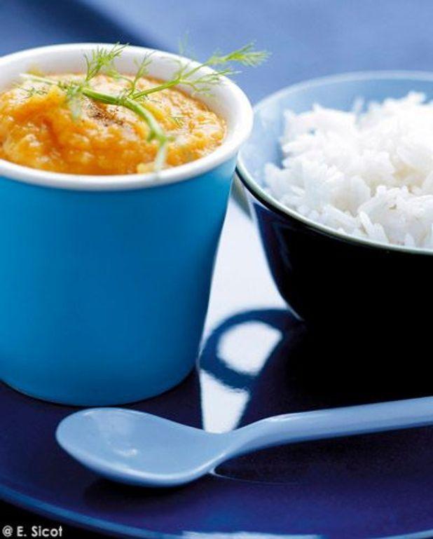 Carottes, fenouil, orange, cumin avec riz basmati (dès 9 mois)
