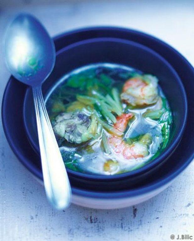 Soupe poulet et crevettes