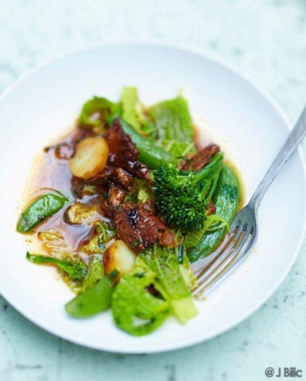 Filet mignon de porc, petits légumes et grenailles