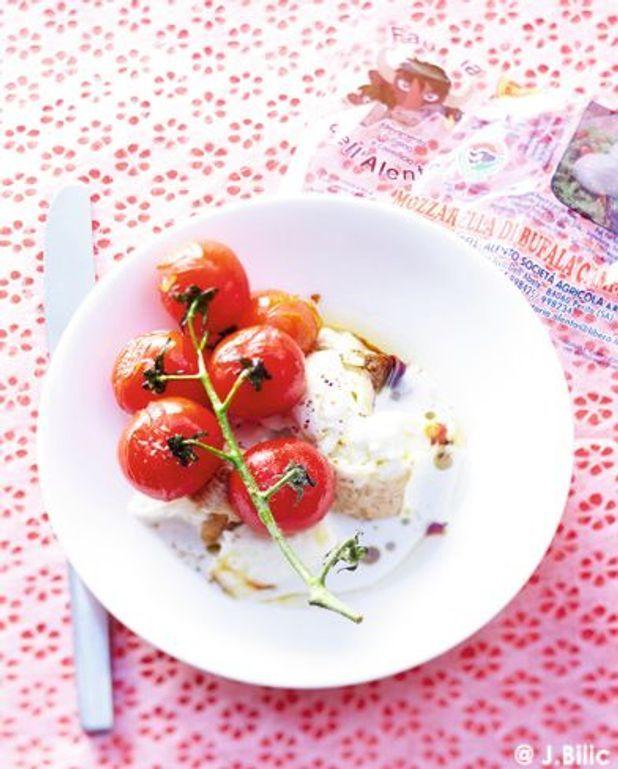 Tomates grillées, mozzarella fumée