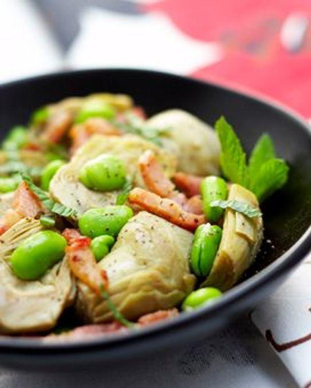 Salade d'artichauts et de fèves