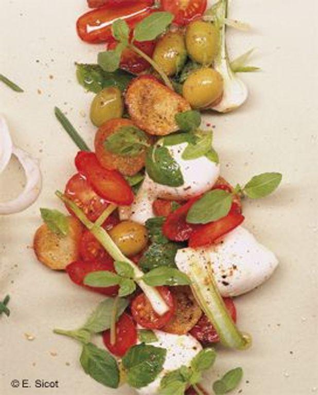 Salade de pain aux mini-mozzarellas