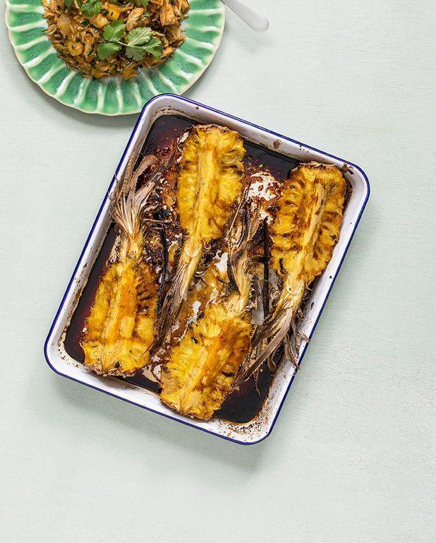Ananas rôti au rhum et vanille