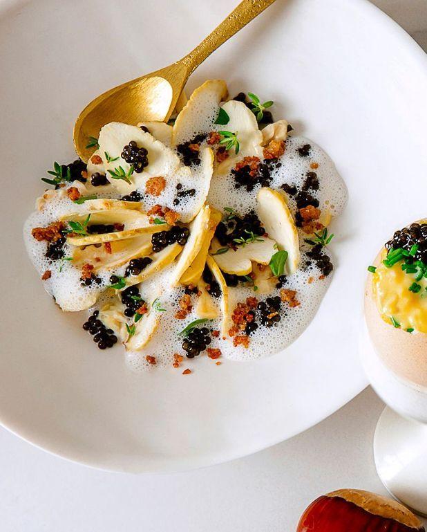 Caviar aux châtaignes, cresson et noix