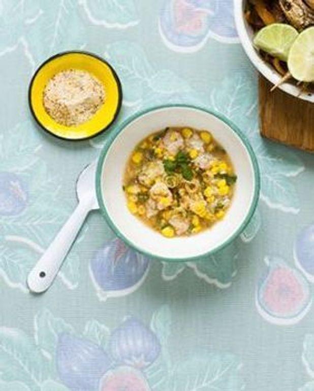Ceviche de langoustines, condiment de riz à la citronnelle