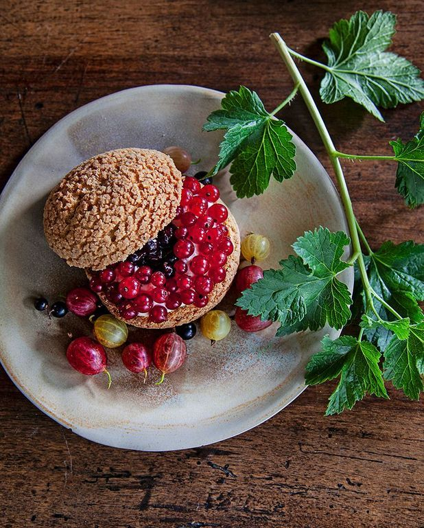 Choux aux fruits rouges, crème au miso blanc et feuilles de cassis