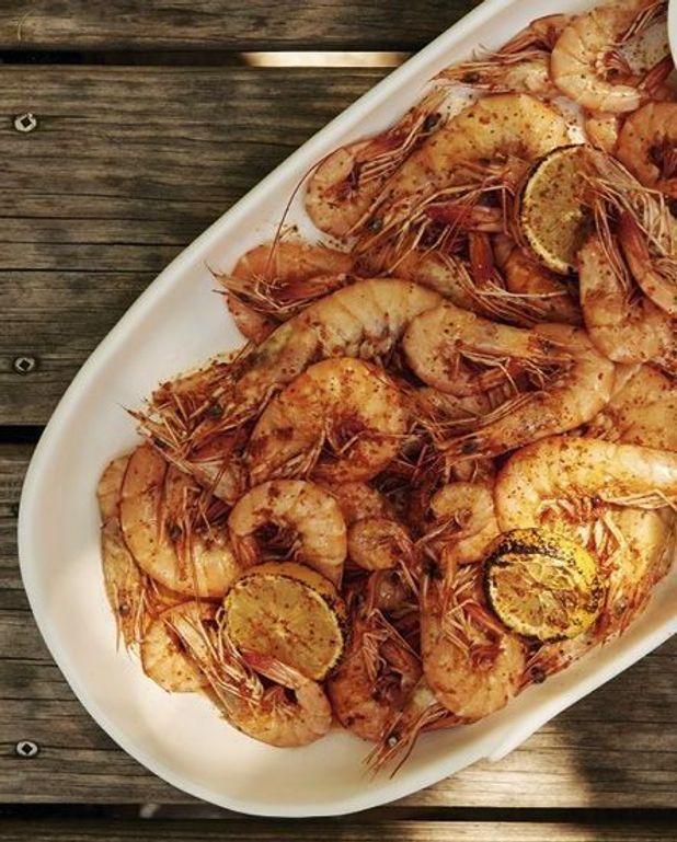 Crevettes à l'aïoli et au citron grillé