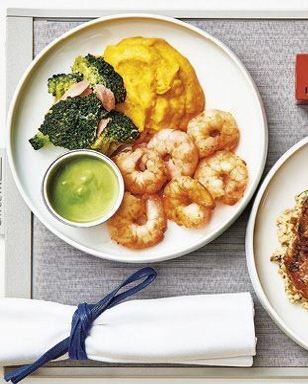 Crevettes poêlées, brocolis au gingembre