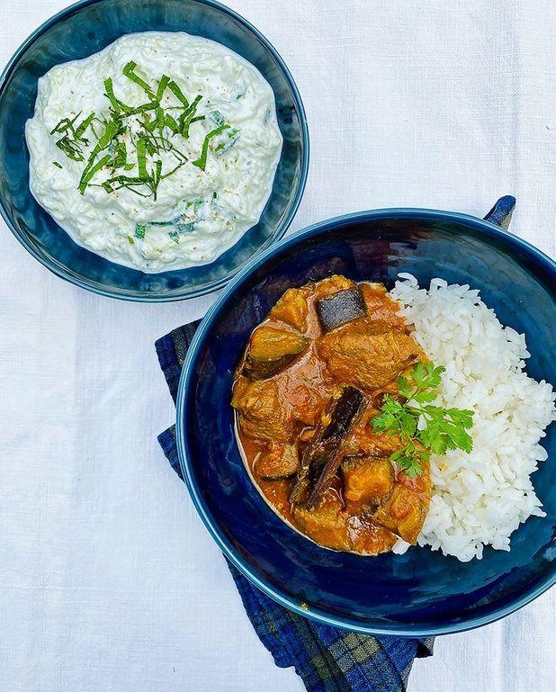 Curry d'agneau aux aubergines