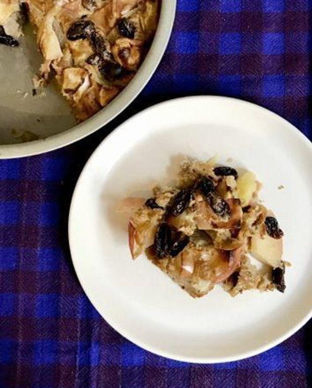 Faux crumble pomme-raisins secs